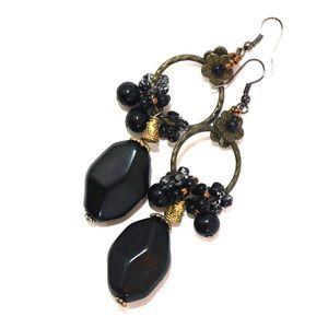 Gorgeous Black Beaded Earrings with Flower